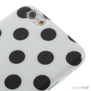 Polkaprikket cover til iPhone 6 i laekker bloed TPU-plast - Hvid - Sort5