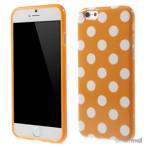 Polkaprikket cover til iPhone 6 i laekker bloed TPU-plast - Orange