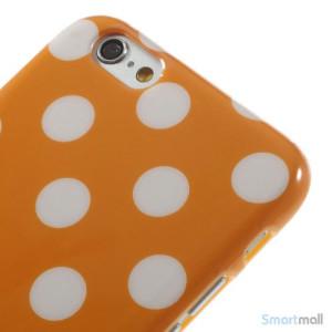 Polkaprikket cover til iPhone 6 i laekker bloed TPU-plast - Orange5