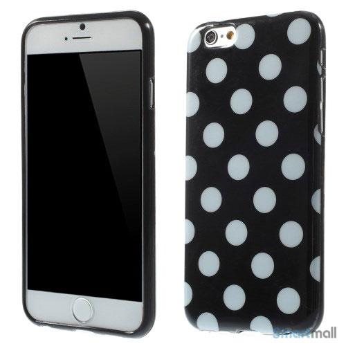 Polkaprikket cover til iPhone 6 i laekker bloed TPU-plast - Sort - Hvid