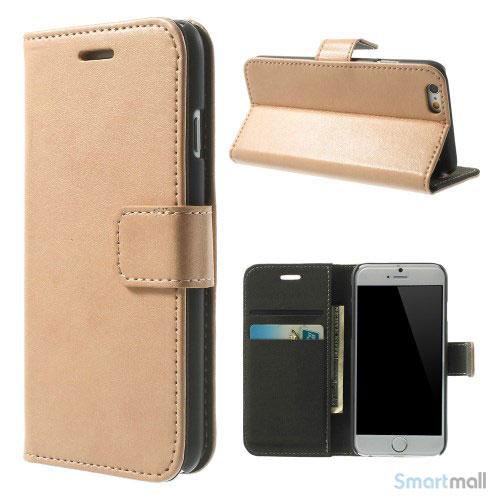 Robust iPhone 6 laederpung med kreditkortholder og lomme - Champagne2
