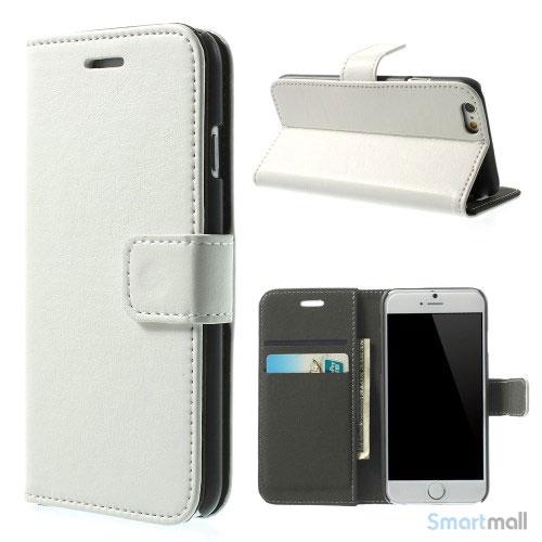 Robust iPhone 6 laederpung med kreditkortholder og lomme - Hvid2