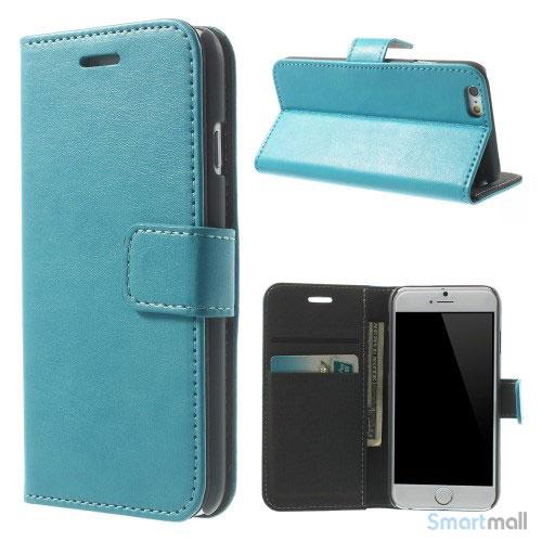 Robust iPhone 6 laederpung med kreditkortholder og lomme - Lyseblaa2