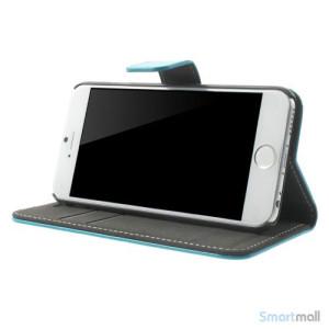 Robust iPhone 6 laederpung med kreditkortholder og lomme - Lyseblaa3