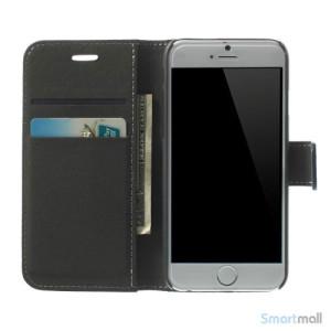 Robust iPhone 6 laederpung med kreditkortholder og lomme - Moerkeblaa