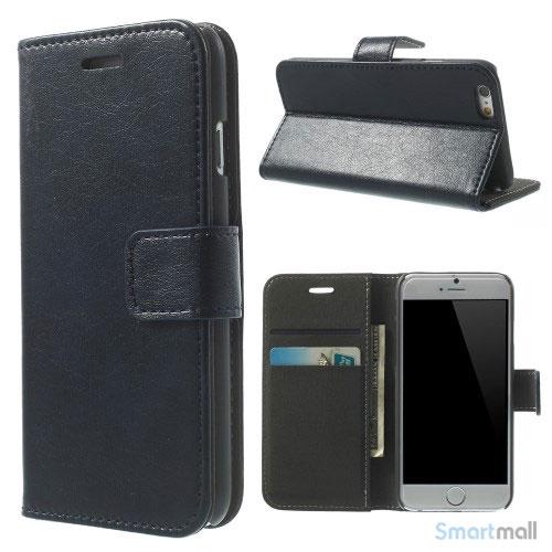 Robust iPhone 6 laederpung med kreditkortholder og lomme - Moerkeblaa2