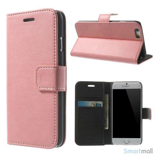 Robust iPhone 6 laederpung med kreditkortholder og lomme - Pink2