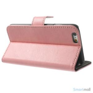 Robust iPhone 6 laederpung med kreditkortholder og lomme - Pink3