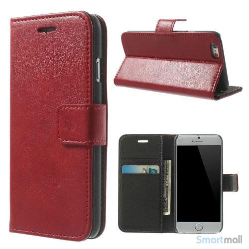 Robust iPhone 6 laederpung med kreditkortholder og lomme - Roed2