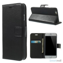 Robust iPhone 6/6S læderpung med kreditkortholder og lomme - Sort