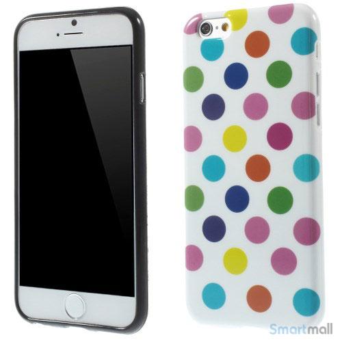Sjovt polka-prikket cover til iPhone 6, udfoert i bloed TPU-plast - Farverige-Hvid