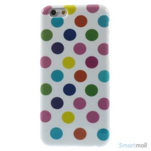 Sjovt polka-prikket cover til iPhone 6, udfoert i bloed TPU-plast - Farverige-Hvid2