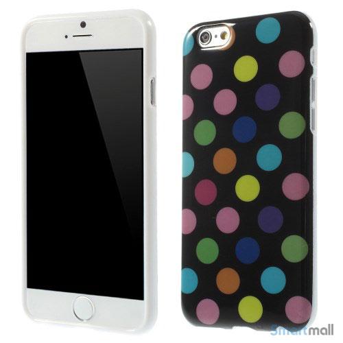 Sjovt-polka-prikket-cover-til-iPhone-6,-udfoert-i-bloed-TPU-plast Farverige-Sort
