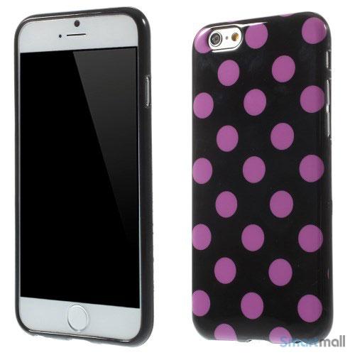 Sjovt polka prikket cover til iPhone 6, udfoert i bloed TPU plast Lilla-Sort