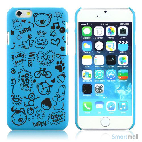 Soedt cover til iPhone 6, dekoreret med smaa cartoons - Baby Blaa
