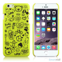 Soedt cover til iPhone 6, dekoreret med smaa cartoons - Gul-Groen