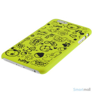 Soedt cover til iPhone 6, dekoreret med smaa cartoons - Gul-Groen3