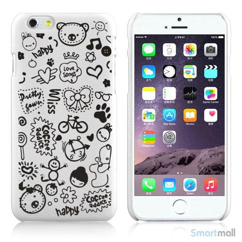 Soedt cover til iPhone 6, dekoreret med smaa cartoons - Hvid