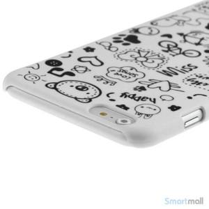 Soedt cover til iPhone 6, dekoreret med smaa cartoons - Hvid4