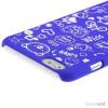 Soedt cover til iPhone 6, dekoreret med smaa cartoons - Moerkeblaa4