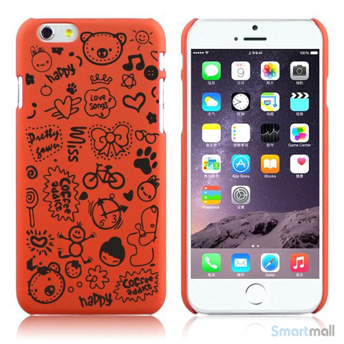 Soedt cover til iPhone 6, dekoreret med smaa cartoons - Orange