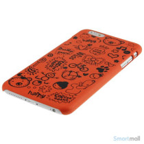 Soedt cover til iPhone 6, dekoreret med smaa cartoons - Orange3