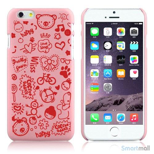 Soedt cover til iPhone 6, dekoreret med smaa cartoons - Pink