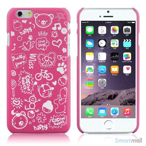 Soedt cover til iPhone 6, dekoreret med smaa cartoons - Rose