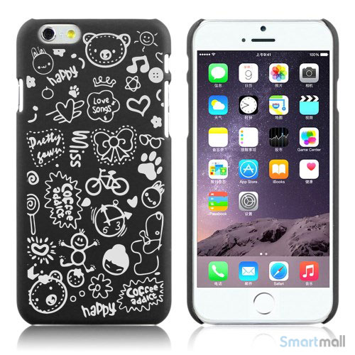 Soedt cover til iPhone 6, dekoreret med smaa cartoons - Sort