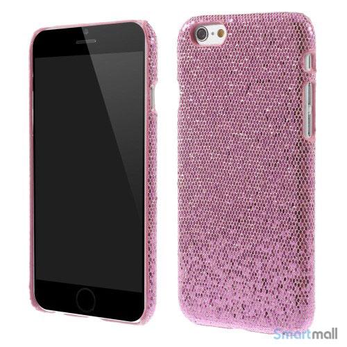 Spaendende laeder-cover til iPhone 6, med paillet-effekt - Pink