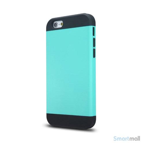 Staerkt hybrid-cover til iPhone 6 med dobbelt-beskyttelse - Cyan