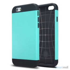 Staerkt hybrid-cover til iPhone 6 med dobbelt-beskyttelse - Cyan3