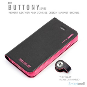 Stilfuld iPhone 6 flip-cover med stand-funktion, i PU-laeder - Rose4