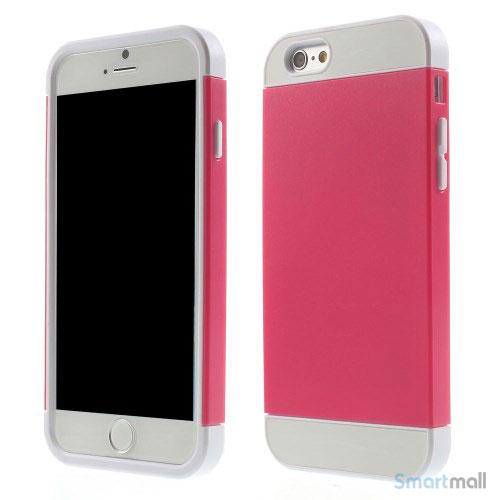 To-farvet iPhone 6 cover med indbygget kortholder - Hvid -Rose