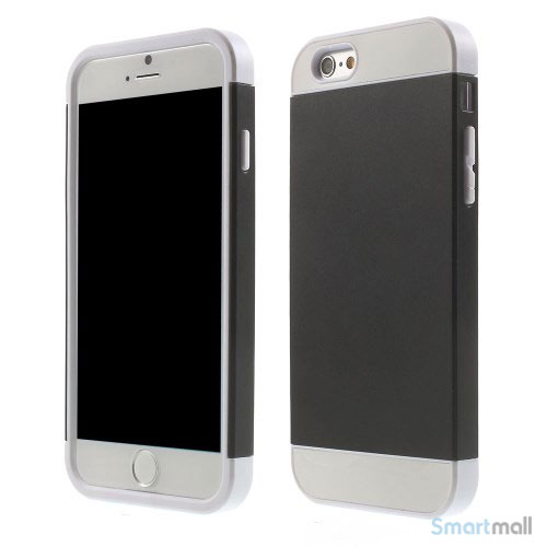 To-farvet iPhone 6 cover med indbygget kortholder - Hvid -Sort