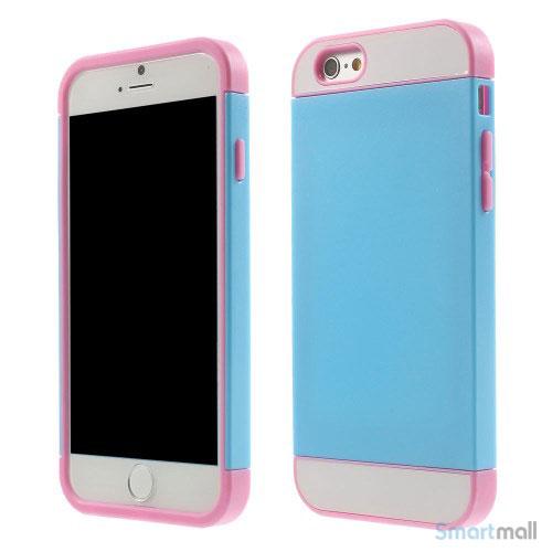 To-farvet iPhone 6 cover med indbygget kortholder - Pink -Moerk Blaa