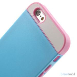 To-farvet iPhone 6 cover med indbygget kortholder - Pink -Moerk Blaa5