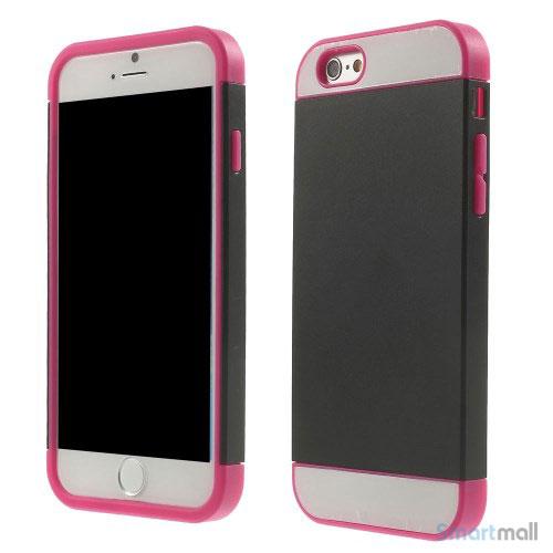 To-farvet iPhone 6 cover med indbygget kortholder - Rose -Sort