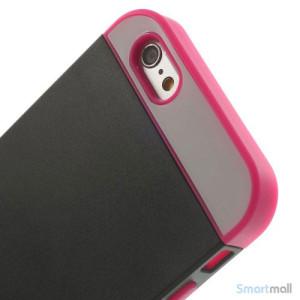 To-farvet iPhone 6 cover med indbygget kortholder - Rose -Sort5