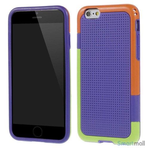 Tre-farvet cover til iPhone 6, med spaendende detaljer - Lilla