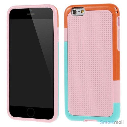 Tre-farvet cover til iPhone 6, med spaendende detaljer - Pink