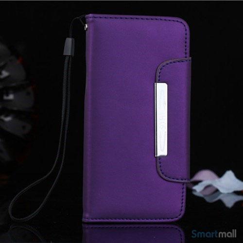Flip-cover i blødt læder til iPhone 6/6S, med håndstrop - Lilla