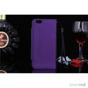 Flip-cover i blodt laeder til iPhone 6, med haendstrop - Lilla2