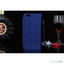 Flip-cover i blodt laeder til iPhone 6, med haendstrop - Mork blaa2