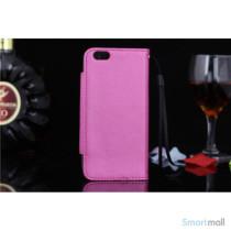 Flip-cover i blodt laeder til iPhone 6, med haendstrop - Rosa2