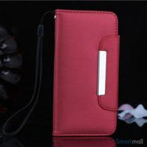 Flip-cover i blødt læder til iPhone 6/6S, med håndstrop – Rød
