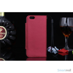 Flip-cover i blodt laeder til iPhone 6, med haendstrop - roed2