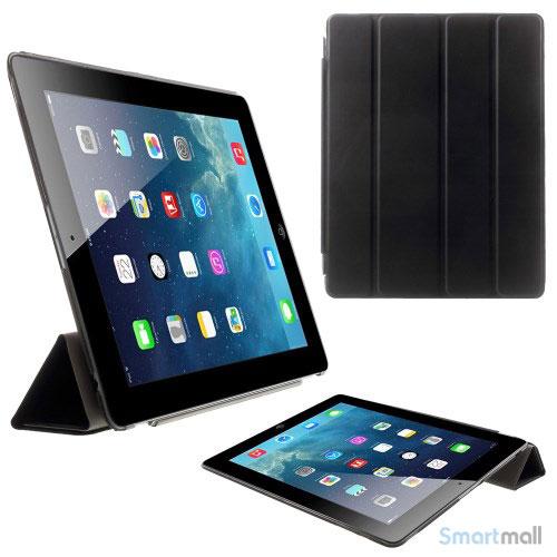 Lækkert flip-cover med standfunktion til iPad 3 og 4 - Sort