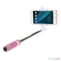 Letvægts mini selfie stick m/minijack stik til iPhone/Samsung/Sony/Mfl – Rose