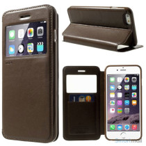ROARKOREA laedercover m-frontvindue til iPhone 6-6S PLUS - Brun